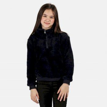 Kessie kuscheliges Fleece mit halblangem Reißverschluss für Kinder Blau