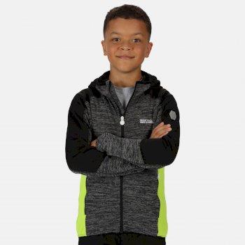 Dissolver III meliertes Walking-Strickfleece mit Kapuze und durchgehendem Reißverschluss für Kinder Grau
