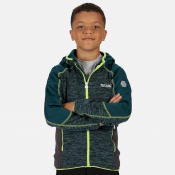 Dissolver III meliertes Walking-Strickfleece mit Kapuze und durchgehendem Reißverschluss für Kinder Grün