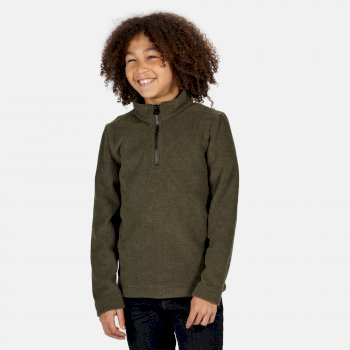 Cabe zweifarbiges Fleece mit halblangem Reißverschluss für Kinder Grün
