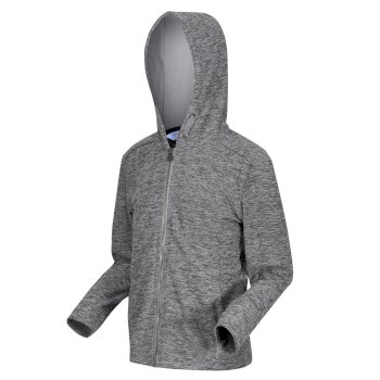 Regatta Kids' Harlem Full Zip Hooded Fleece - Storm Grey Marl