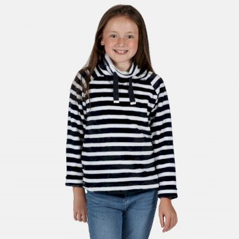 Regatta Kids' Heleena Velour Overhead Fleece  - Navy Stripe