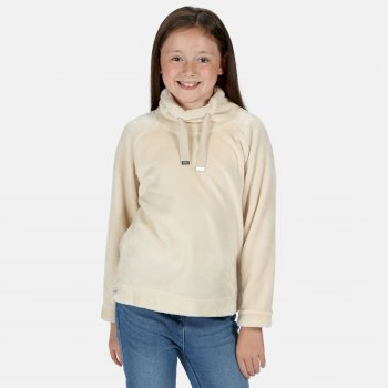 Regatta Kids' Heleena Velour Overhead Fleece  - Light Vanilla