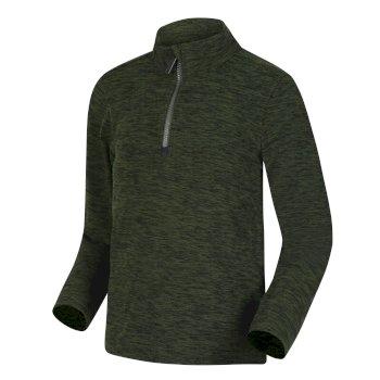 Shay leichter, melierter Fleece mit halblangem Reißverschluss für Kinder Grün