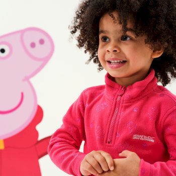 Regatta Peppa Pig Printed Lightweight Half Zip Fleece - Bright Blush Floral