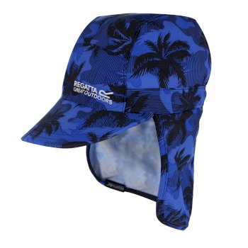Regatta Kids' Protect Sunshade Neck Protector Cap Oxford Blue Camo Print