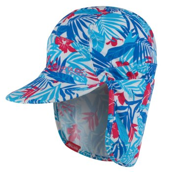 Regatta Kids' Protect Sunshade Neck Protector Cap Blue Tropical Print