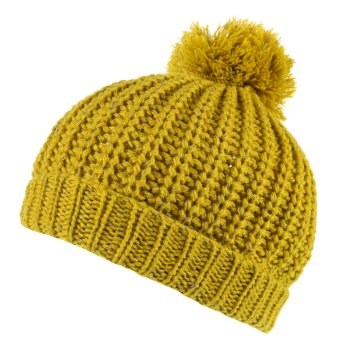Regatta Luminosity II Reflective Knit Bobble Hat Mustard Seed