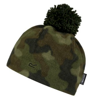 Regatta Kids' Fallon Printed Fleece Hat - Khaki Camo