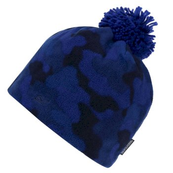 Regatta Kids' Fallon Printed Fleece Hat - Royal Blue Camo