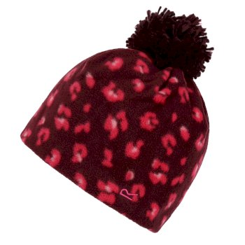 Regatta Kids' Fallon Printed Fleece Hat - Fig Leopard