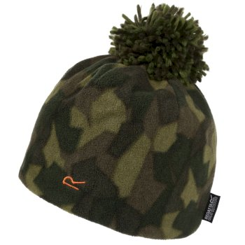 Regatta Kids' Fallon Printed Fleece Hat - Dark Khaki Camo