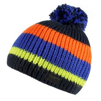 Kids' Davin Acrylic Knit Pom Pom Hat - Navy Multi