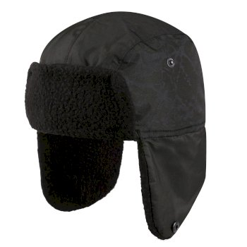 Tavis II reflektierende Trapper-Mütze mit Kunstfellfutter für Kinder Schwarz