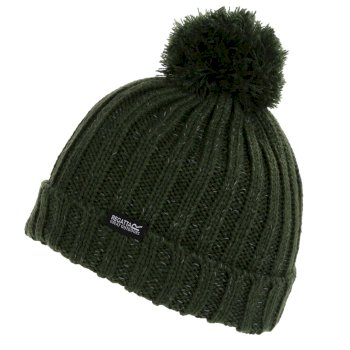 Regatta Kids' Luminosity III Reflective Bobble Hat - Dark Khaki