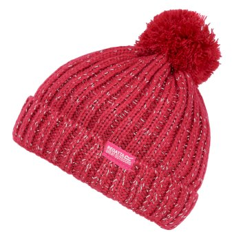 Regatta Kids' Luminosity III Reflective Bobble Hat - Dark Cerise
