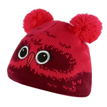 Regatta Kids' Animally III Knitted Beanie Hat - Beetroot Owl