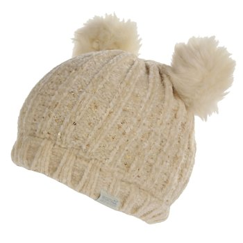 Regatta Kids' Hedy Lux II Sequined Bobble Hat - Light Vanilla