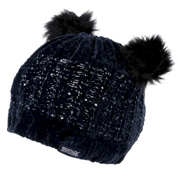 Regatta Kids' Hedy Lux II Sequined Bobble Hat - Navy