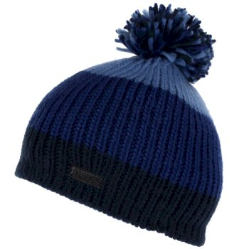 Kids' Davin II Striped Bobble Hat - Navy