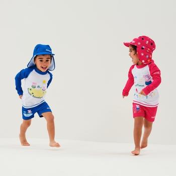 Peppa Wutz Sonnenschutzkappe mit Nackenschutz für Kinder Blau