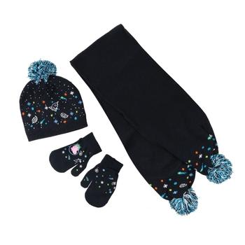 Peppa Wutz-Set mit Strick-Bommelmütze, Schal & Handschuhen Blau