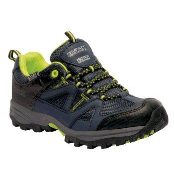 Regatta Kids Gatlin Low Walking Shoes - Navy Blazer Lime Zest