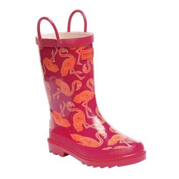 Regatta Kids Minnow Printed Wellington Boots - Satsuma