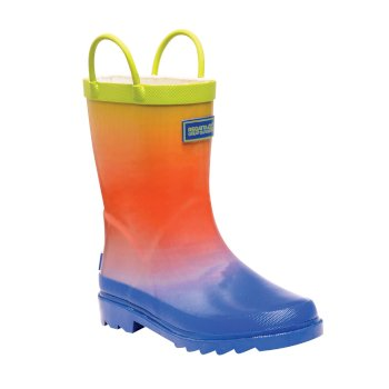 Regatta Kids Minnow Printed Wellington Boots - Blue Ombre