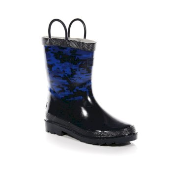 Regatta Kids' Minnow Camo Print Wellingtons Navy Oxford Blue