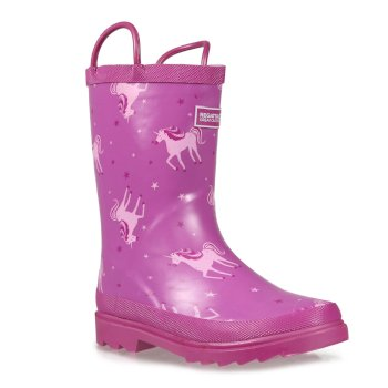 Regatta Kids Minnow Printed Wellington Boots - Unicorn Radiant Orchid