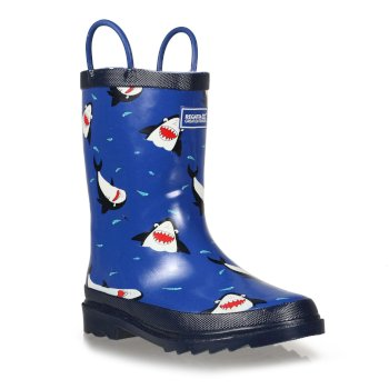 Regatta Kids Minnow Printed Wellington Boots - Shark Nautical Blue
