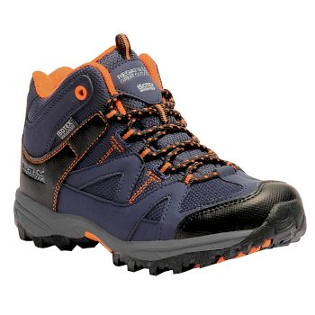 Regatta Kids Gatlin Mid Walking Boots - Navy Blazer Persimmon