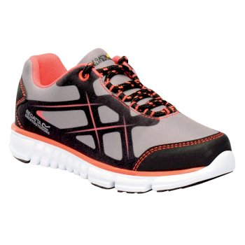 Regatta Kids Kota Lite Walking Shoes - Rock Grey Neon Peach