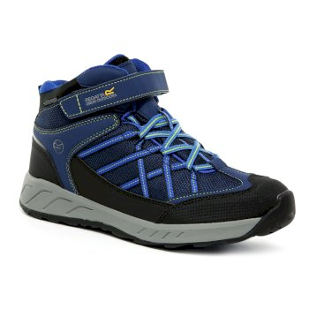 Regatta Kids' Samaris V Mid Walking Boots - Prussian Blue Neon Spring