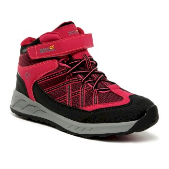 Regatta Kids' Samaris V Mid Waterproof Walking Boots - Dark Cerise Neon Pink