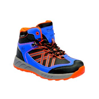 Regatta Kids' Samaris Mid Walking Boots - Oxford Blue Orange Fizz