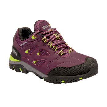 Regatta Kids' Holcombe Low Walking Shoes - Italian Plum Lime Punch