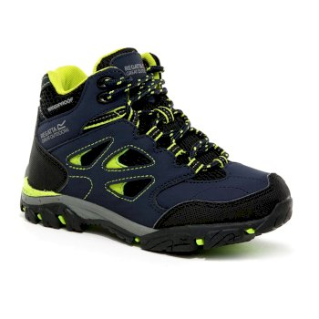 Regatta Kids' Holcombe IEP Mid Waterproof Walking Boots - Navy Lime Punch