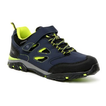 Regatta Kids' Holcombe IEP Low V Waterproof Walking Shoes - Navy Lime Punch