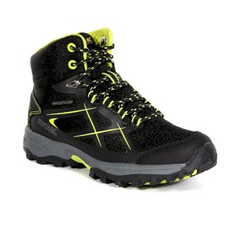 Regatta Kids' Kota Walking Boots - Black Lime Punch