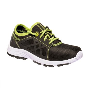 Regatta Kids' Marine Sport II Trainers Black Lime Green