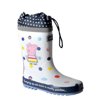 Regatta Peppa Pig Splash Wellingtons - White Polka