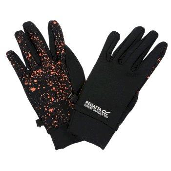 Grippy Handschuhe für Kinder Schwarz/Koralle