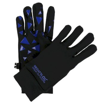Regatta Kids Grippy Gloves Black Oxford Blue