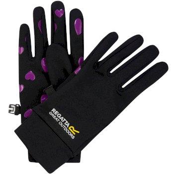 Regatta Kids Grippy Stretch Gloves Black Vivid Viola Heart