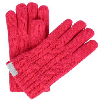 Regatta Kids Multimix Fleece Lined Cable Knit Gloves Bright Blush