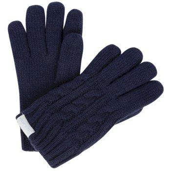 Regatta Kids Multimix Fleece Lined Cable Knit Gloves Navy