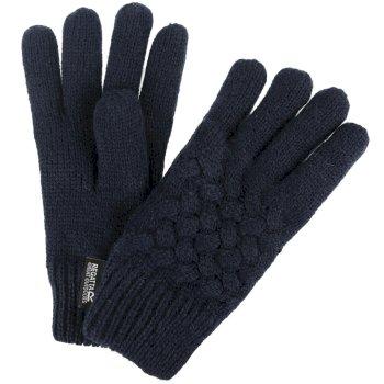 Kids' Merle Cable Knit Gloves Marineblau