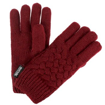 Kids' Merle Cable Knit Gloves Delhi Rot